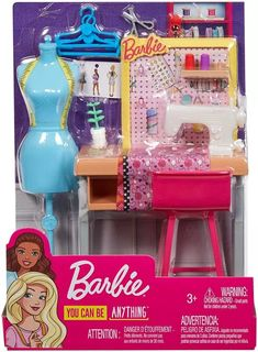 Barbie Fashion Design Studio Playset with Sewing Machine Station, Dress Form and Themed Toys, for 3 to 7 Year Olds, Barbie Doll Set, Barbie Sets, Doll Clothes Barbie, Barbie Doll House, Barbie Barbie, Barbie Stuff, Barbies Dolls, Toys For Girls, Barbie Furniture
