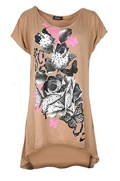 6fd00eef Oops Outlet Womens Diamante Butterflies Short Sleeve Oversize Baggy High Lo  Top ** You can get additional details at the image link.