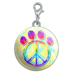 Paw Print Peace Sign Stainless Steel Pet Dog ID Tag * For more information, visit now : Dogs ID tags and collar accessories