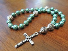 Teal Glass Pearl Anglican Episcopal Protestant Prayer Beads Rosary | eBay