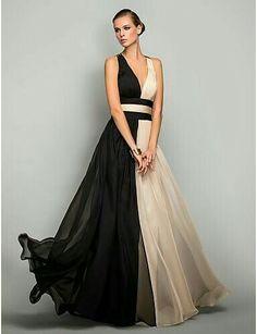 Vestido negro y beige