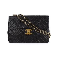 Black lambskin maxi single flap shoulder bag from Chanel Vintage featuring a rectangular body, foldover top with twist-lock closure, a gold-tone logo plaque, a quilted effect, a chain and leather strap, a back slip pocket, an internal logo stamp, an internal zipped pocket and multiple interior compartments. Please note that vintage items are not new and therefore might have minor imperfections. Light wear to the interior and scratches to the hardware. Size: OS. Color: Black. Gender: Female.