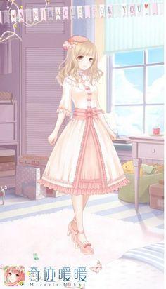 Miracle Nikki Star Fashion, Fashion Art, Girl Fashion, Anime Outfits, Girl Outfits, Cute Outfits, Anime Girl Pink, Pink Girl, Anime Dress