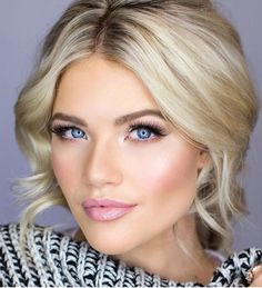 "Wedding makeup [ ""Take a look at the best soft wedding makeup in the photos below and get ideas for your wedding! Witney Carson Wedding Makeup Image source Naturally Beautiful Image source natural wedding makeup & soft updo ~ we… Continue Reading →"", ""soft smokey eye & pink lips - stunning bridal makeup look! ~ we ❤ this!"", ""Bridal Makeup Looks by Vivian Makeup Artist - Mon Cheri Bridals - Fashion"", ""Wedding make up, Pink lip, Blue eyes"", ""Pretty new updos perfect for the bride from..."