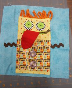 Riley Blake Designs -- Cutting Corners: Manny Monster Quiet Book Page with zip for mouth Touch And Feel Book, Quiet Time Activities, Felt Quiet Books, Sick Kids, Busy Bags, Any Book, Baby Crafts, Book Pages, Kids Toys