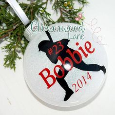 Personalized Christmas Ornament / Christmas Ornament / Glitter Christmas Ornament / Personalized Glitter Ornament / Baseball Player Ornament Affiliate #baseballmom #baseballornament #personalizedornament