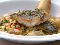 Black Sea Bass with Corn and Jumbo Lump Crab Saute recipe from FoodNation with Bobby Flay via Food Network Eel Recipes, Seafood Recipes, Seafood Dishes, Dinner Recipes, Roasted Fingerling Potatoes, Seafood Seasoning, Sea Bass, International Recipes, Recipe Collection