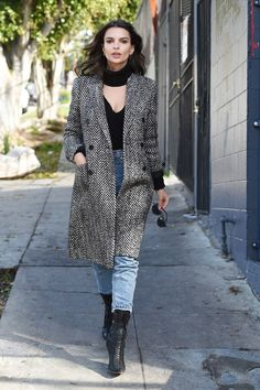 Emily Ratajkowski in the Herringbone Motif Statement Coat