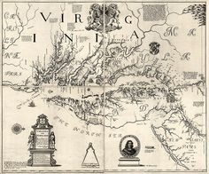 Antique map of Virginia and Maryland from 1673