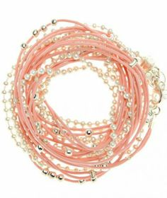 XXL Pink Leather Necklace Bracelet With Silver Chain  Beads