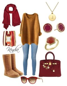 """""""Going to grab some hot cocoa"""" by k1974johnson1117 ❤ liked on Polyvore featuring 7 For All Mankind, UGG Australia, Hermès, Burberry, donni charm, La Mer, Kate Spade, Trisori and Marc by Marc Jacobs"""