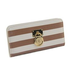 Michael Kors Hamilton Logo Striped Large Brown Wallets