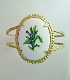 Vintage Lily of the Valley clamper bracelet, 18 usd, etsy