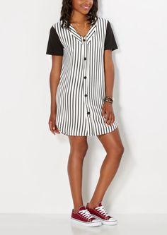 Striped Jersey Shirt Dress