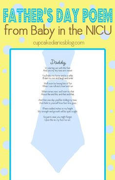 Father's Day Poem from His Baby in the NICU - Print off the poem and bring it to the NICU to have the nurses stamp the baby's foot on the tie. A precious Father's Day gift! #fathers #gift #baby