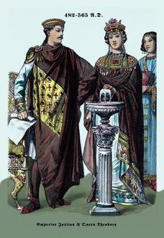 Emperor Justinian and Queen Theodora 482-565 12x18 Giclee on canvas