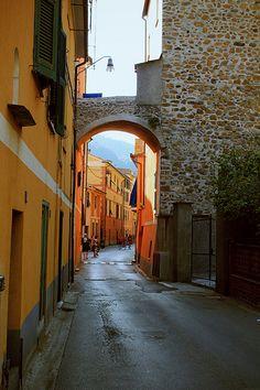 Bonassola's street , Italy.