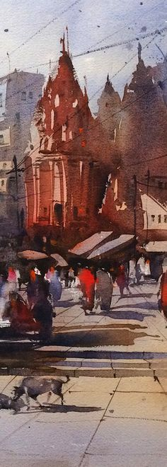 watercolour art of varanasi ghat painting, being an indian watercolour artist i have been always inspired from this holy town. Plese visit my online art gallery of watercolor painting to see more varanasi paintings. Japan Watercolor, Watercolor Artwork, Watercolor Lesson, City Painting, Indian Paintings, Japan Art, Indian Art, Cool Artwork, Online Art Gallery