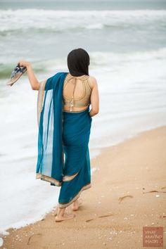 Gold Halter Saree Blouse| Marigold Tales | Wedding Inspiration and More For The South Indian Bride