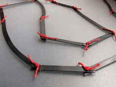 QuercusSilver - Contemporary Oxidised Sterling Silver Chain & Red Linen -  Long  Statement Necklace - Threads.