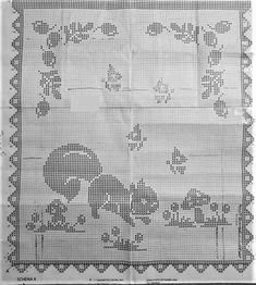 Crochet Diagram, Filet Crochet, Crochet Patterns, Afghan Blanket, Cross Stitch Animals, Double Knitting, Baby Quilts, Doilies, Color Patterns