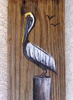 Pelican Hand Painted on Reclaimed Fence Board  by roseartworks, $25.00