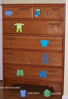 Dresser Clothing Decals Labels - Boys room decals - Dresser Labels - Kids labels - Probably could make this myself? Kids Bedroom Boys, Boy Room, Kids Room, Baby Bedroom, Drawer Labels, Organizing Labels, Household Organization, Storage Organization, Kids Dressers