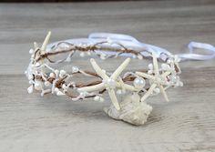 Beach Wedding Starfish Beads Wired Hair Crown, Nautical Wedding Headpiece, Destination Wedding Headband Starfish tiara rustic Ariel bohemian by PrettyNatali on Etsy