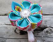 ID Badge Holder Retractable Reel Kanzashi Ribbon Flower with Round Petals in Turquiose and Assorted Color Floral Print  ID Reel