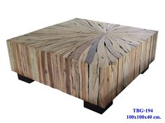 Mixed wood slab coffee table