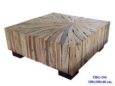 Mixed wood slab coffee table