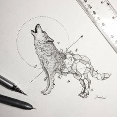 Howling Wolf. Geometry Coupled with Intricate Detailed of Animals. To see more art and information about Kerby Rosanes click the image.
