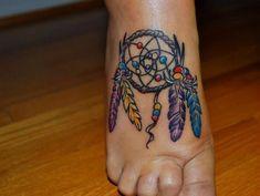 Colorful Dreamcatcher Feet Tattoo