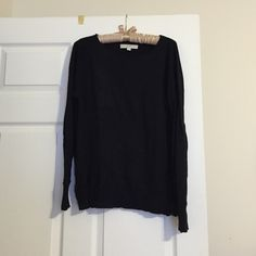 Loft crew neck sweater Simple black crew neck sweater, zippers on both sides in the front for decorative detail, soft, good condition LOFT Sweaters Crew & Scoop Necks