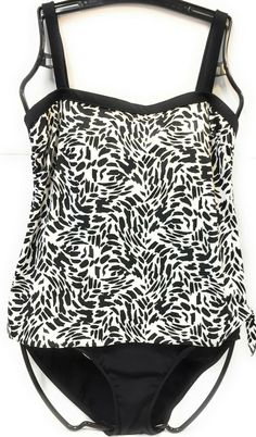 6d7bb92cca4 Maxine Of Hollywood Swimsuit Womens Black White Size 14 Animal Blouson One  Piece #fashion #
