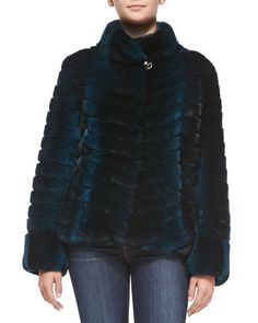 Leather-Sleeve Layered Rabbit-Fur Jacket, Teal by Gorski at Neiman Marcus.
