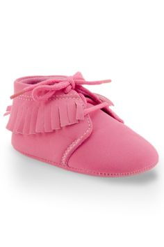 Fringe Moccasin Training Shoes in Pink