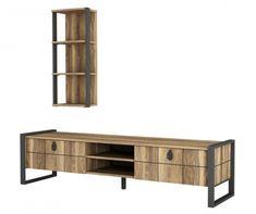 Set TV komoda i viseći element Lost Brown - Vivre. Tv Board, Sideboard, Shelves, Cabinet, Storage, Brown, Home Decor, Furnitures, Products