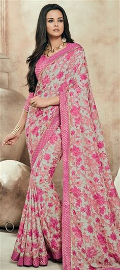 712022 Beige and Brown, Pink and Majenta color family Printed Sarees, Silk Sarees in Art Silk fabric with Lace, Printed work with matching unstitched blouse.