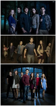 Teen Wolf Cast. I like the first one better because Alyson & Scott are together, scalison(: