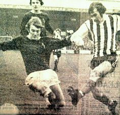 Grimsby Town 0 Burnley 2 in Jan 1974 at Blundall Park. Leighton James and Jack Lewis go in for the ball in the FA Cup Round. Grimsby Town Fc, Burnley, Fa Cup, Old Photos, 1970s, Football, Park, Painting, Old Pictures