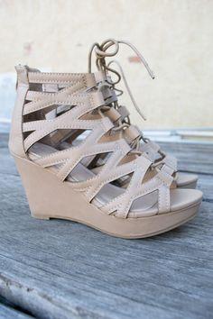 Corset Lace Wedge Heels