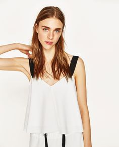 ZARA MONO CONTRAST CROP TOP