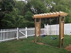 This is the new swing set I just built for the kids.  When they outgrow it, I will make it a Pergola with one adult swing.