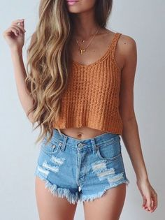 knit crop top + high waisted shorts