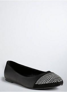 <p>We took a classically classy style (the ballet flat) and turned it on its <s>head</s> toes. Punk rock takes over the prim and proper style; note the black faux leather construction and the silver tone studded toe.</p>  <ul> <li>Man-made materials</li> <li>Imported</li> </ul>