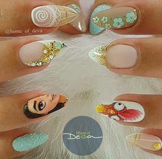 """Vaiana Nails/ Disney Nail Art/ Cartoon Nails/ Paznokcie Hybrydowe/ Zdobienie Paznokci/ Manicure Hybrydowy/ Stylizacje Paznokci/ Postacie z bajek na paznokciach <a href=""""https://www.neonail.pl/?utm_source=social&utm_medium=pinterest"""">Lakiery Hybrydowe NeoNail</a> #disney #nailart #naildesigns"""
