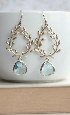 Laurel Wreath Earring, Aqua, Aquamarine Blue, Gold Plated Chandelier Earring. Blue Wedding. Bridesmaid Gift. Something Blue, Beach Wedding. https://www.etsy.com/listing/218274559/laurel-wreath-earring-aqua-aquamarine?
