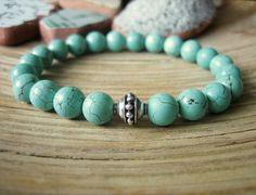 Turquoise Yoga Bracelet - Bali Silver Guru Bead by Merkaba Warrior Healing Crystal Jewelry, Healing Bracelets, Yoga Bracelet, Stackable Bracelets, Yoga Jewelry, Bracelet Sizes, Silver Beads, Making Ideas, Jewelry Collection