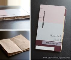 """""""Magical ideas"""" upcycled notebook with coptic binding. Brown void-fill paper from CropChocolate parcels for pages, cardboard box for covers, paint chip samples for decoration and page tabs."""